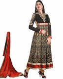 Ethnic Designer Black/Cream Color Anarkali Suit