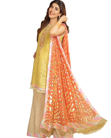 Yellow And Cream Embroidered Cotton Palazzo Suit Design