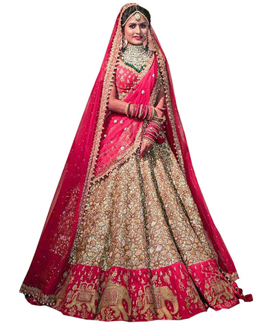 Pink And Stone Color Wedding lehenga