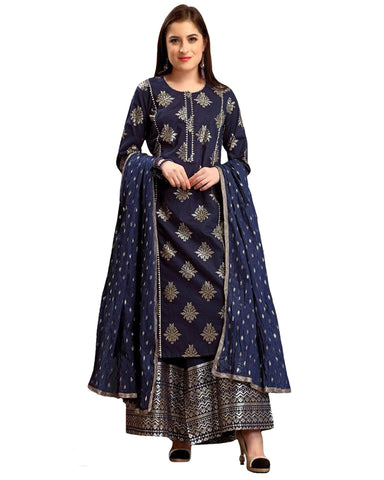 Beautiful Navy Blue Colored Partywear Foil Printed Pure Cotton Palazzo Suit