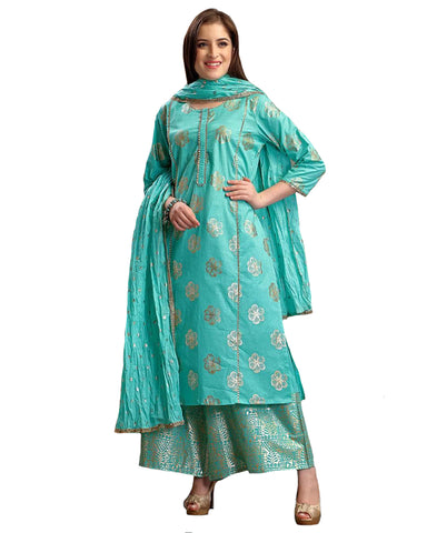 Glowing Aqua Blue Colored Partywear Foil Printed Pure Cotton Palazzo Suit