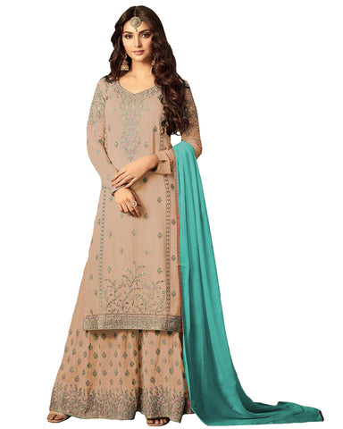 Ideal Gold Colored Partywear Embroidered Georgette Palazzo Suit