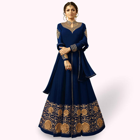 Marvellous Navy Blue Colored Partywear Embroidered Georgette Abaya Style Anarkali Suit