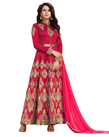 Party Wear Red Taffta Silk Salwar Suit
