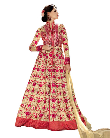 Party Wear Gold Color Taffta Silk Salwar Suit