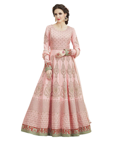 Party Wear Light Pink Taffta Silk Salwar Suit