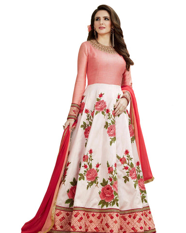 Party Wear white Silk Salwar Suit