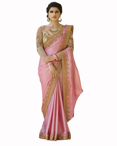 Designer Work Light Pink Color Saree