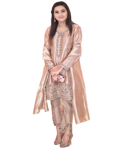 Coco Color Embroidered Tissue Silk Palazzo Suit Design