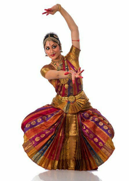 Multi & Gold Color Classical Dance Dress