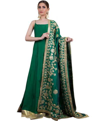 Dark Green Colored Party wear Embroidered Silk Abaya Style Anarkali Suit