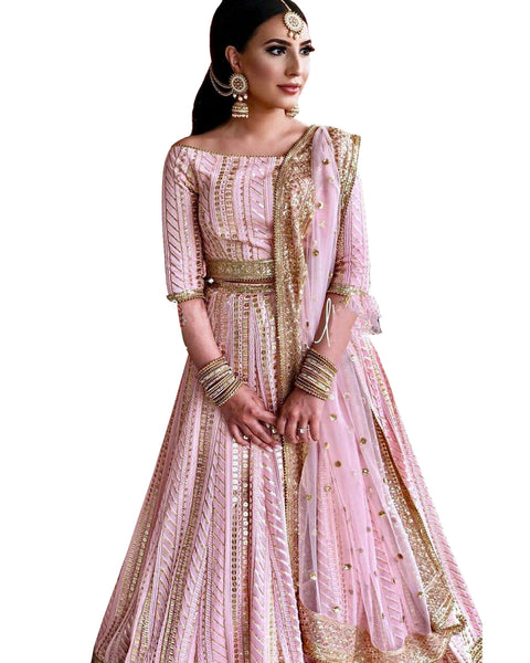 Light Pink Color Squance Work Lehenga