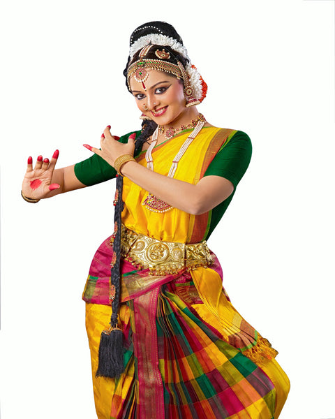 Multi & Yellow Color Classical Dance Dress