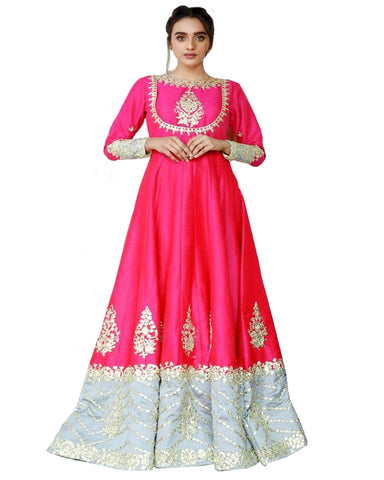 Pink And Sky Colored Party wear Embroidered Silk Abaya Style Anarkali Suit