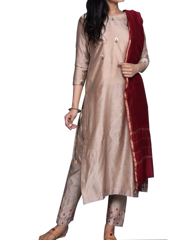 Light Brown Color Embroidered Silk Palazzo Suit Design