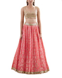 Gold And Peach Designer Lehenga