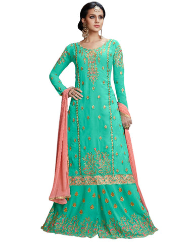 Feroze & Peach Color  Mango Georgette Suit