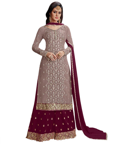 Grey & Purple Color Mango Georgette Suit