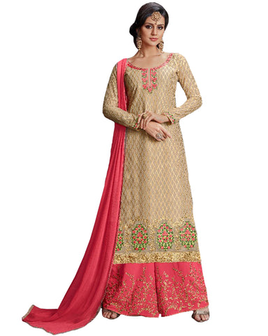 Beige & Peach Color Mango Georgette Suit