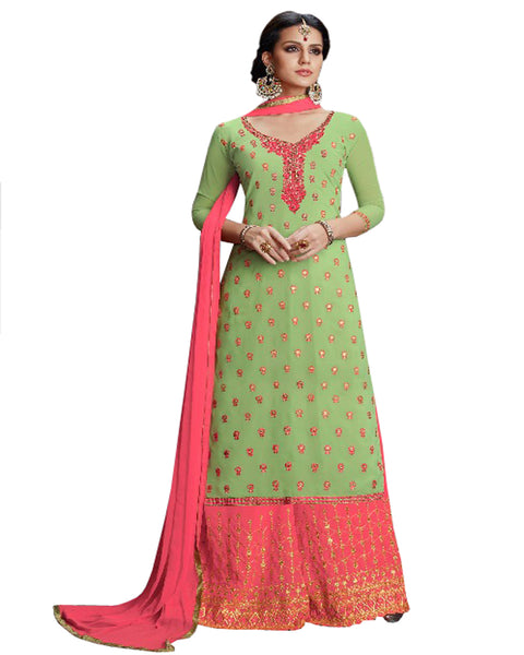 Green & Peach Color Mango Georgette Suit