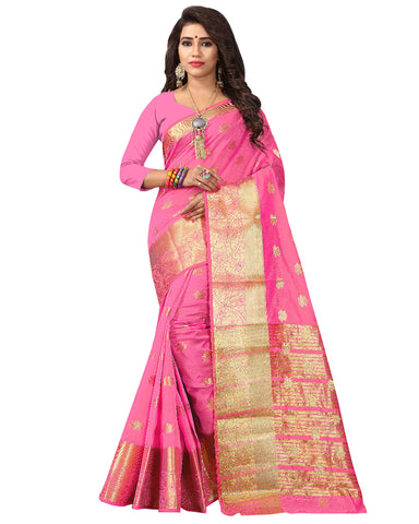 Pink Color Banarsi Saree