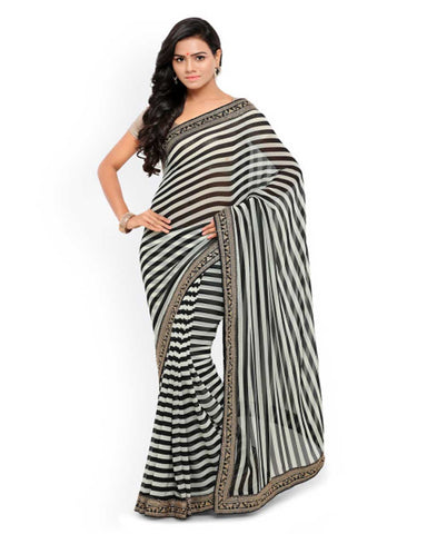 Lenora Black & White Striped Poly Georgette Saree