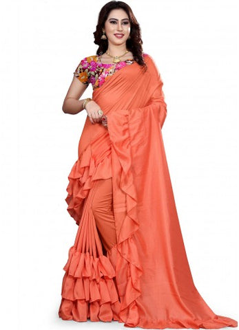 Orange Colour With Ruffle Crepe Saree