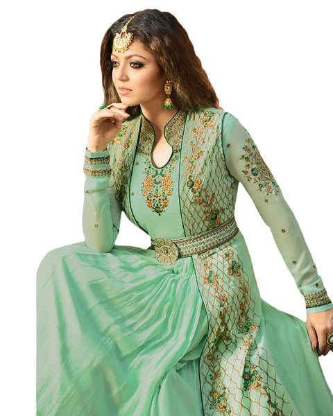 Sky Color Bangalori Silk Gown