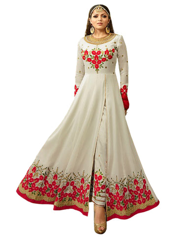 White Color Bangalori Silk Gown