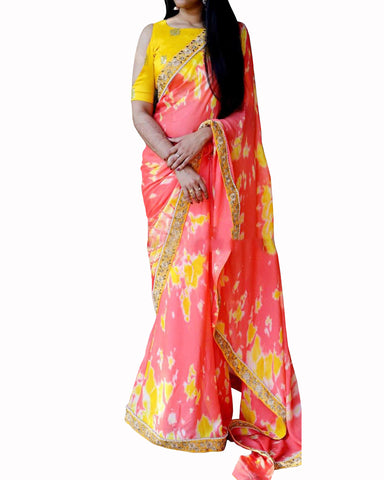 Designer Work Peach yellow Color Saree