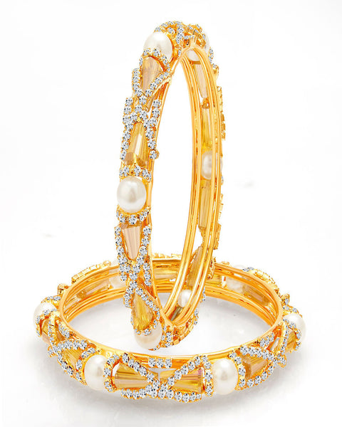 Designer Gold Plated Pearl Crystal AD Bangle For Women