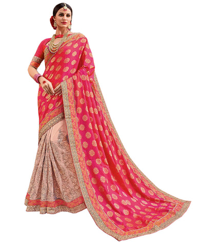 Dark Peach Color Banarsi Saree