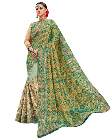 Sea Green Color Banarsi Saree
