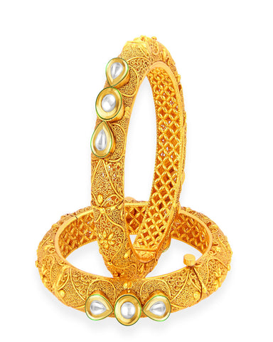 Stunning Gold Plated Kundan Bangle For Women