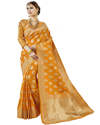 Yellow Color Banarasi Silk Saree