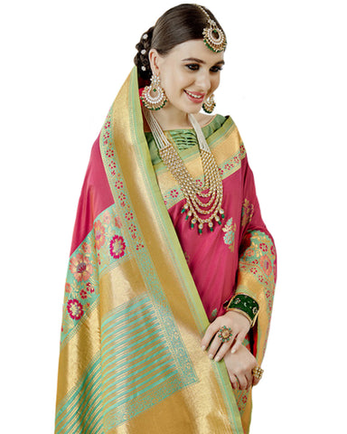 Pink & Sea Green Color Banarasi Silk Saree
