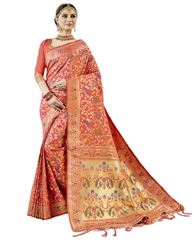 Orange Color Banarsi Silk Saree
