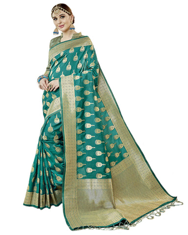 Rama Blue Color Banarsi Silk Saree