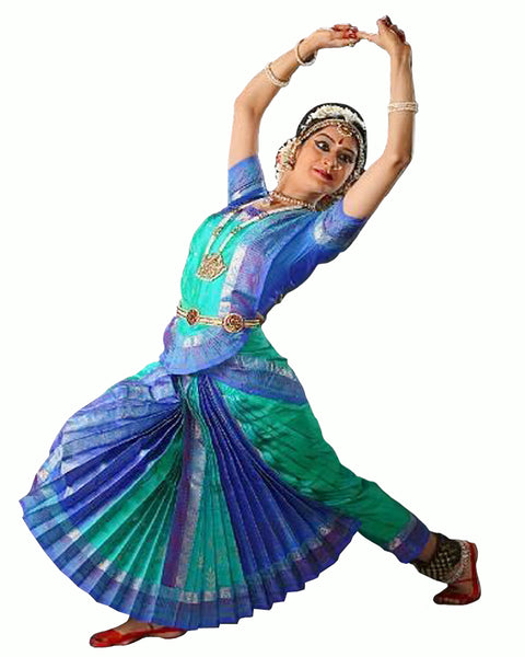 Blue & Sea Green Bhatatnatyam Dance Dress