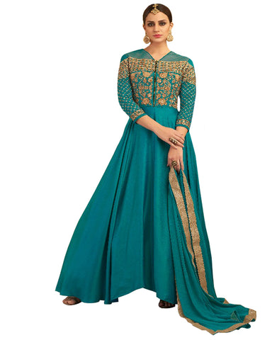 Party Wear blue Satin Jacqurd  Salwar Suit