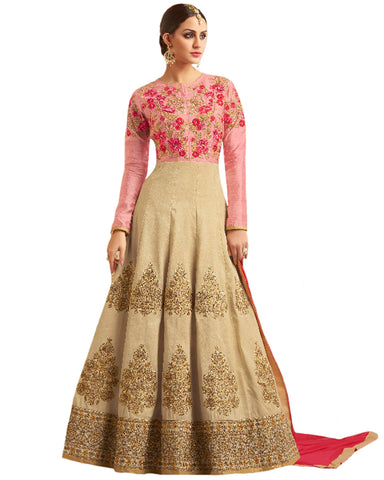 Party Wear Cream Taffta Silk Salwar Suit