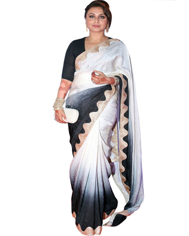 Rani Black & White Satin Silk Saree