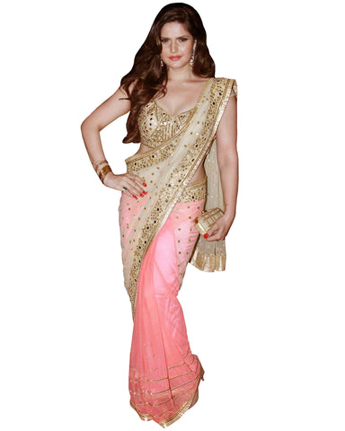 Zarine Khan Mirror Work Saree
