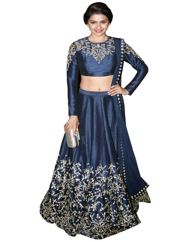 Prachi Bule Color Silk Lehenga