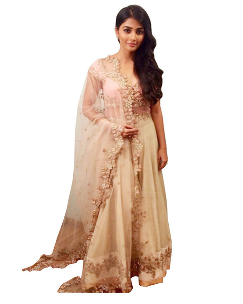 Pooja Hedge Cream Color Lehenga