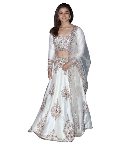 Aliya White Color Silk Lehenga