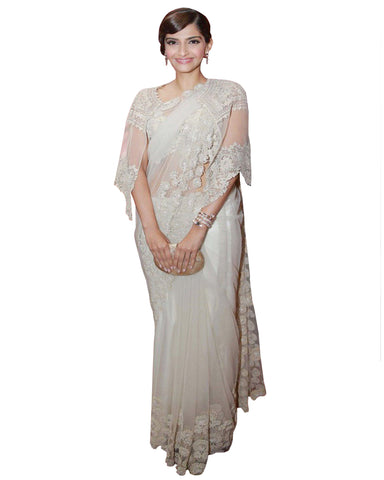 Sonam White Color Net Saree