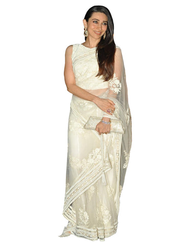 Karishma Off-White Net Saree