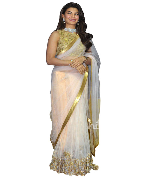 Jacqueline White & Gold Saree