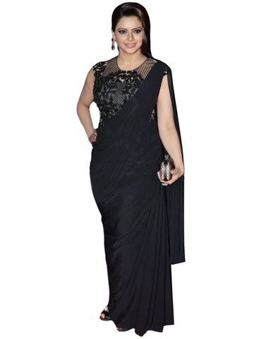 Ammna Sharif Black Color Saree